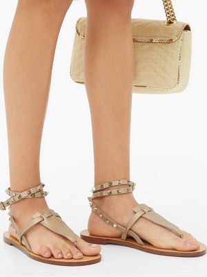 Valentino rockstud tie ankle leather sandals