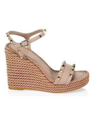 Valentino rockstud torchon leather espadrille wedge sandals