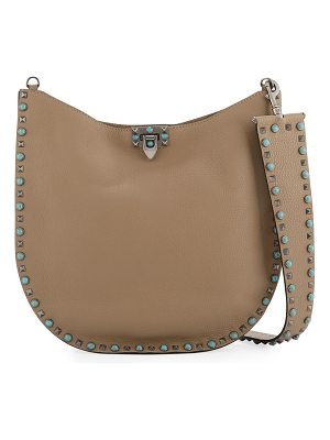 VALENTINO Rolling Rockstud Medium Leather Hobo Bag