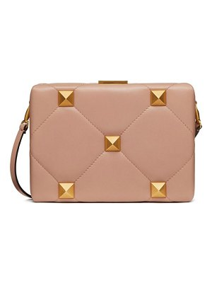 Valentino roman stud quilted-leather clutch bag