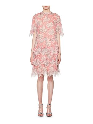 VALENTINO Scalloped Rhododendron Chiffon Dress