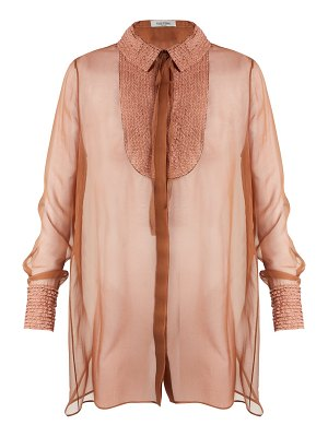 Valentino Semi-sheer silk-chiffon blouse