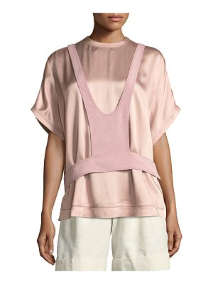 VALENTINO Short-Sleeve Hammered Satin Blouse With Overlay Detail