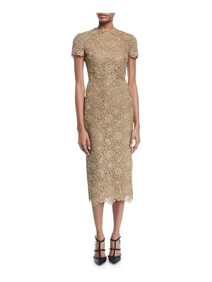 Valentino Short-Sleeve Metallic Lace Midi Dress