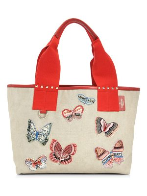 VALENTINO Small Butterfly Embroidered Beach Tote