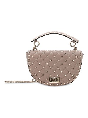Valentino Spike crackled leather saddle bag
