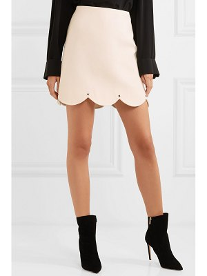 Valentino studded scalloped wool and silk-blend mini skirt
