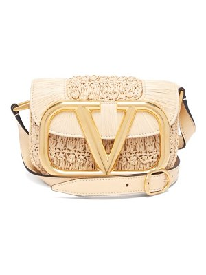 Valentino supervee raffia and leather cross-body bag