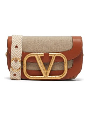 Valentino supervee v-logo canvas cross-body bag