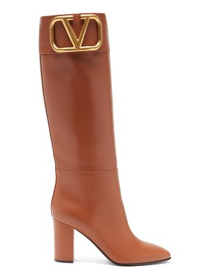 Valentino supervee v-logo knee-high leather boots