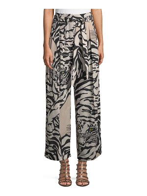 Valentino Tiger-Print Silk Pull-On Pants