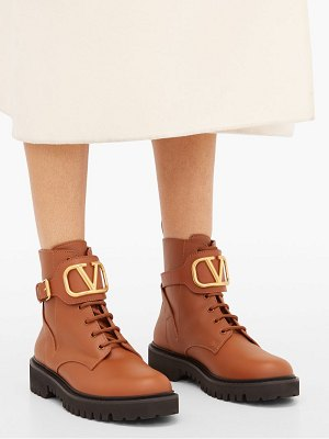 Valentino v-logo leather lace-up boots