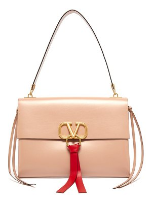 Valentino v ring leather shoulder bag