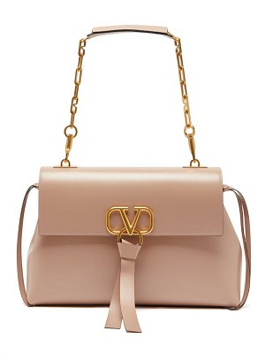 Valentino v ring medium leather shoulder bag