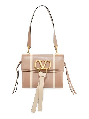 Valentino V Ring Small Leather & Karung Shoulder Bag