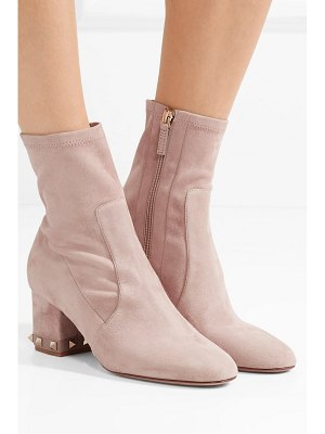 Valentino valentino garavani the rockstud leather-trimmed suede ankle boots