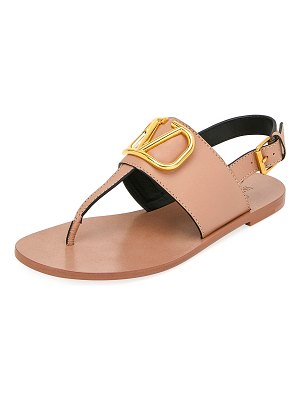 Valentino VLOGO Flat Leather Thong Sandals