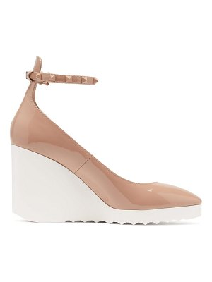 Valentino white wave wedge-heel patent-leather pumps