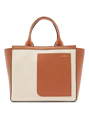 Valextra shopping mini canvas and leather tote bag