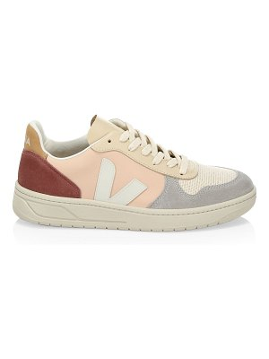 VEJA v-10 recycled mesh leather lace-up sneakers