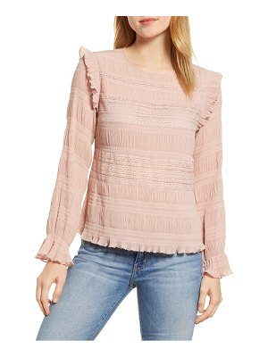 Velvet by Graham & Spencer lace ruched georgette blouse