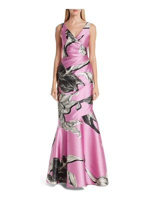 VERDIN floral print ruched evening dress