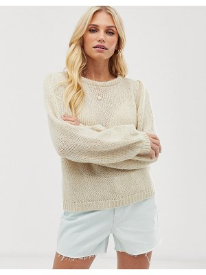 Vero Moda aware puff sleeve sweater-beige
