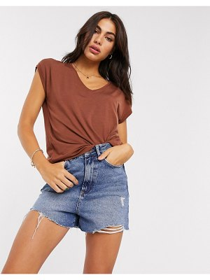 Vero Moda aware t-shirt with v neck in rust-brown