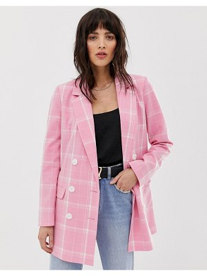 Vero Moda bright check double breasted blazer