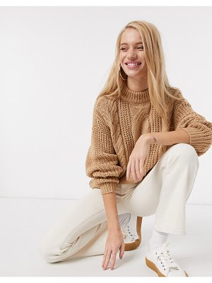 Vero Moda cable knit sweater in tan-brown