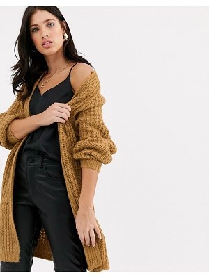 Vero Moda chunky balloon sleeve cardigan-brown