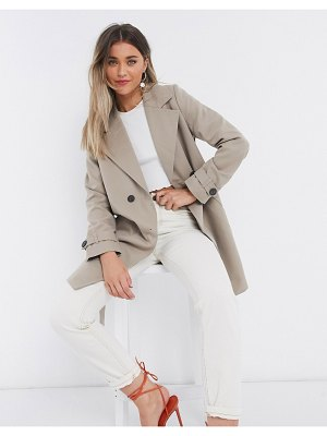 Vero Moda double breasted trench coat with tie belt in beige-brown