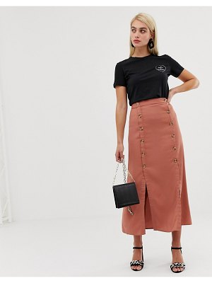 Vero Moda double split button front midaxi skirt-brown