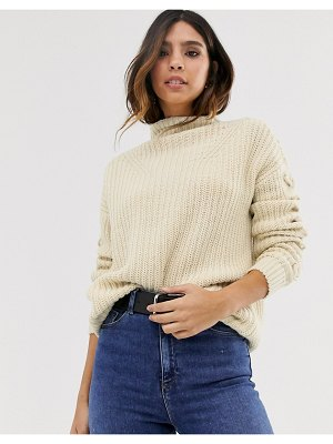 Vero Moda high neck stitching detail sweater in oatmeal-beige
