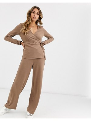 Vero Moda knitted wide leg pants in mink-brown