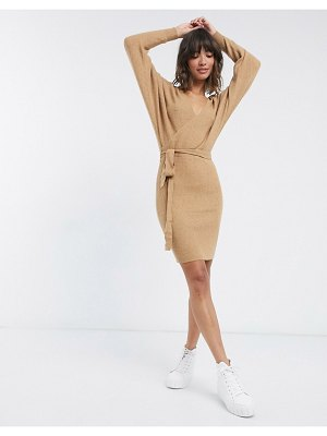 Vero Moda knitted wrap mini dress in camel-tan