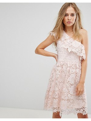 Vero Moda lace one shoulder mini dress in pink