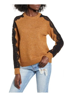 Vero Moda lace sleeve detail crewneck sweater