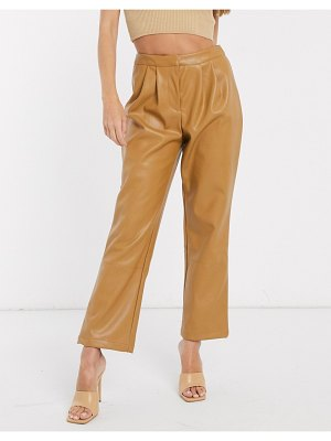 Vero Moda leather look pants in camel-brown