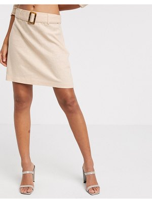 Vero Moda linen mini skirt with tortoise belt in peach-beige