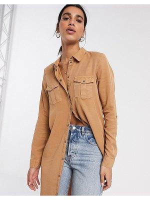 Vero Moda longline shirt with utility details in tan-brown