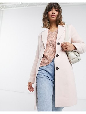 Vero Moda longline tailored car coat in pink