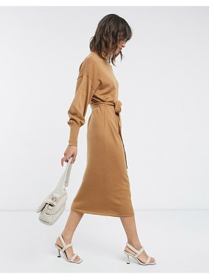 Vero Moda midi sweater dress with high neck and tie waist in camel-brown