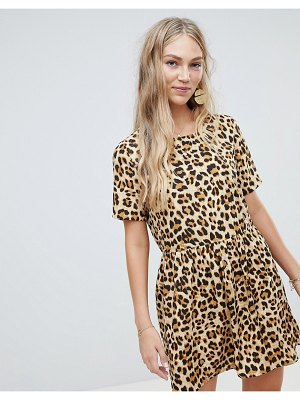 Vero Moda oversize animal print smock dress