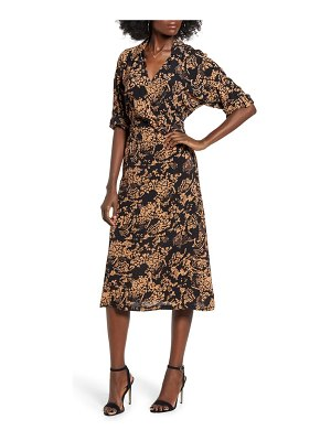 Vero Moda prosecca print faux wrap dress