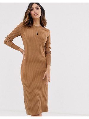 Vero Moda ribbed midi sweater dress in tan