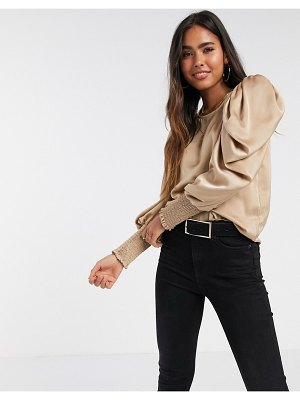 Vero Moda satin blouse with volume sleeve in beige