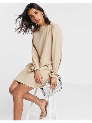 Vero Moda shift dress with tie sleeves in sand-beige