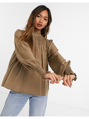 Vero Moda smock top with shirred high neck in tan-brown
