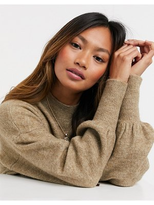 Vero Moda sweater with balloon sleeves in camel-beige